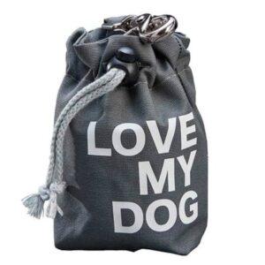 leckerlibeutel love my dog grau