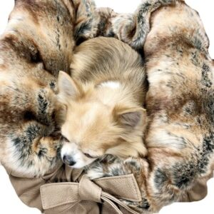 hundetasche bellagio beige with brown chinchilla