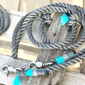 kordelleine fashion grey mit turkis blau