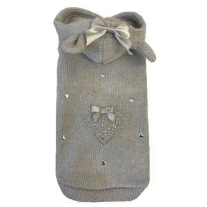 cashmere hoodie mit kristall grey
