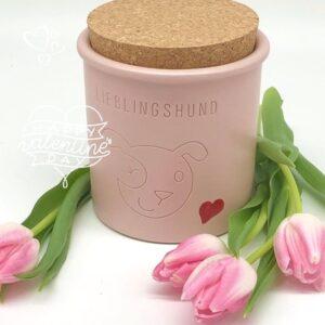 keramik dose lieblingshund rosa